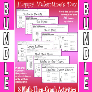 Valentine's Day - 8 Math-Then-Graph Activities Bundle - Solve 30 Systems