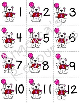 Valentine's Day Number Cards 1-20