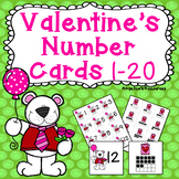 Valentine's Day Activities : Counting Cards - Numbers 1-20 - Number Sense