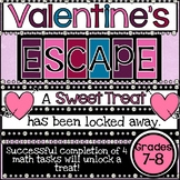 Valentine's Day 7th and 8th Grade Math Digital Escape Room Activity