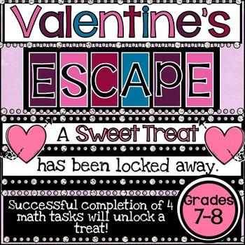 Valentine's Day 7th and 8th Grade Math Digital Escape Room Activity