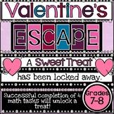 Valentine's Day Math Escape Room   7th Grade