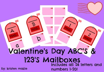 Valentine's Day ABC's and 123's Mailbox Matching Activity