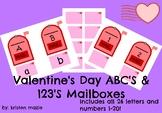 Valentine's Day ABC's and 123's Mailbox Matching Activity