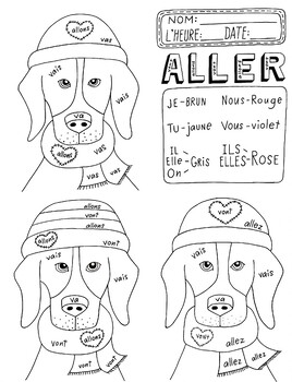 Valentine's Day ~ALLER ~French color by verb conjugation ~NO PREP French verbs