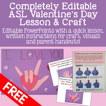 Valentine's Day ASL Lesson & Craft Freebie - Great for Speech Therapy & Spec Ed