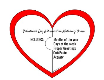 Valentine's Day Abbreviation Matching Puzzle Piece Game with Handout
