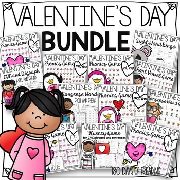 Valentine's Day Games for Long Vowels, Short Vowels, Sight Words and Fluency