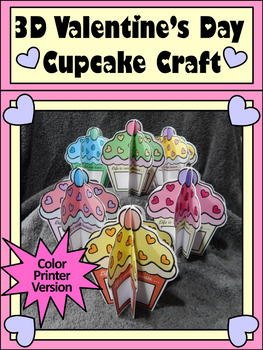 Valentine's Day Activities: 3D Valentine Cupcakes Craft Activity