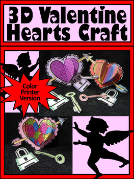 Valentine's Day Activities: 3D Hearts Valentine's Day Craft Activity - Color