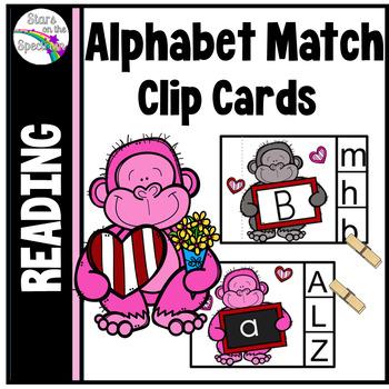 Valentine's Day Activities Alphabet Match Clip Cards