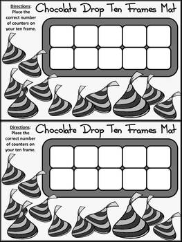 Valentine's Day Activities: Chocolate Drop Ten Frames Activity -BW
