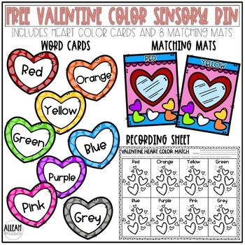 Valentine's Day Activities - FREE Color Matching Sensory Bin