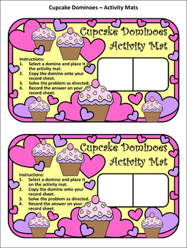 Valentine's Day Activities: Cupcake Dominoes Math Activity & Math Game