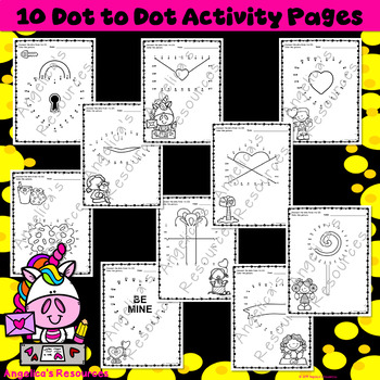 Valentine's Day Activities: Dot to Dot Printables - Fine Motor Skills - Numbers
