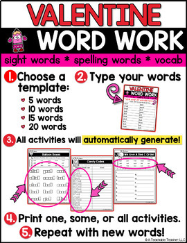 Valentines Day Activities   EDITABLE Valentine's Day Word Work