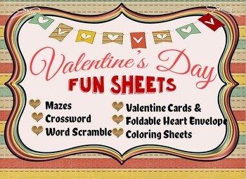 Valentine's Day Activities/Fun Sheets Grade 6+