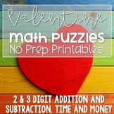 Valentine's Day Activities | Math Puzzles | Addition, Subtraction, Money, Time