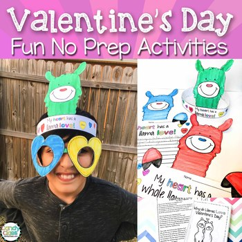 Valentine's Day Activities - No Prep with Llama Crafts and ELA & Math Printables