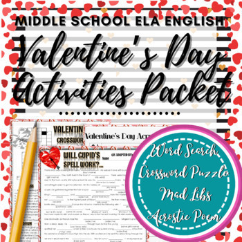 Valentine's Day Activities Packet! Crossword, Word Search,