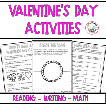Valentine's Day Activities: Reading, Writing, Math Activities