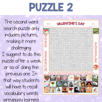 Valentine's Day Activities for ESL Word Search Puzzles