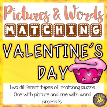 Valentine's Day ESL Activities Picture and Definition Matching Puzzles