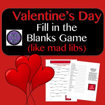 valentines day activity fill in the blanks valentines day kindness game