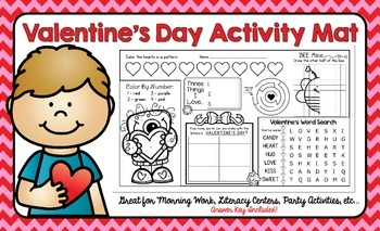 Valentine's Day Activity Mat - A Page FULL Of Fun Valentine's Day Activities!
