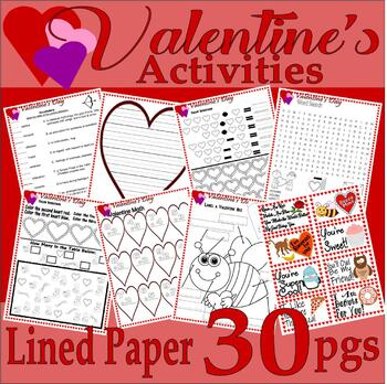 Valentine's Day Activity Pack Math Spelling Vocabulary Journal LINED PAPER 15pg