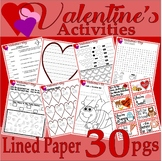 Valentine's Day Fun Pack Math Spelling Vocabulary Journal LINED PAPER * NO PREP