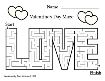 Valentine's Day Activity Packet; Word search, Maze, Word Scramble, & Dot to Dot