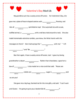 Valentine's Day Activity Packet for Grades 4-7