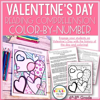 Valentine's Day Activity-Reading Comprehension Color by Number