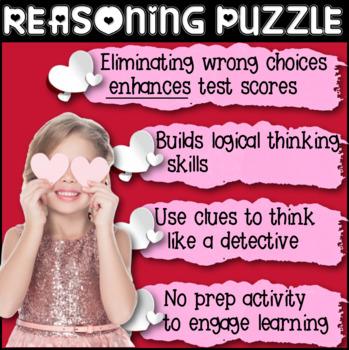 Valentine's Day Activity: Reasoning Puzzle (Grade 4: V-Day Favorites - Hard)