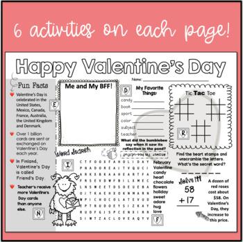Valentine's Day Activity Sheet