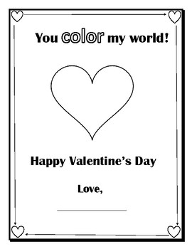 Valentine S Day Activity You Color My World By Elle T Tpt