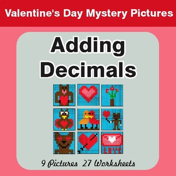 Valentine's Day: Adding Decimals - Color-By-Number Math Mystery Pictures
