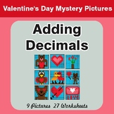 Valentine's Day: Adding Decimals - Color-By-Number Mystery