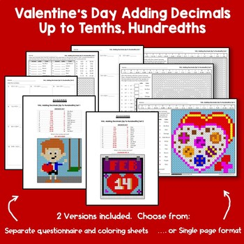 Math Valentines Color By Adding Decimals Riddles Mystery Picture Worksheets