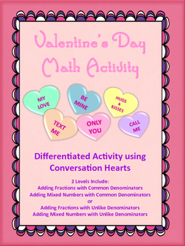 Valentine's Day Adding Fractions