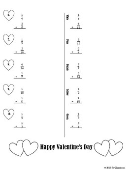 Valentine's Day Adding Fractions Cooperative Learning