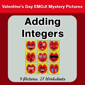 Valentine's Day: Adding Integers - Color-By-Number Math Mystery Pictures