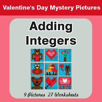 Valentine's Day: Adding Integers - Color-By-Number Mystery Pictures