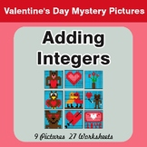 Valentine's Day: Adding Integers - Color-By-Number Mystery