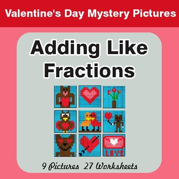 Valentine's Day: Adding Like Fractions - Color-By-Number Math Mystery Pictures
