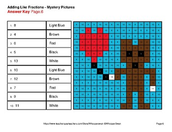 Adding Like Fractions - Color-By-Number Valentine's Math Mystery Pictures