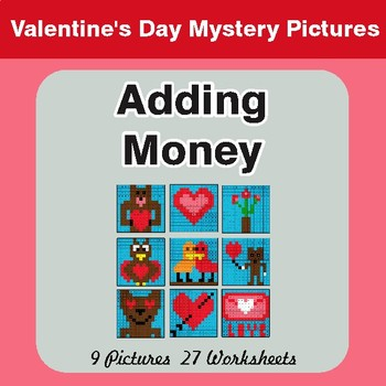 Valentine's Day: Adding Money - Color-By-Number Math Mystery Pictures