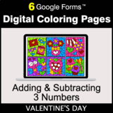 Valentine's Day: Adding & Subtracting 3 Numbers - Digital