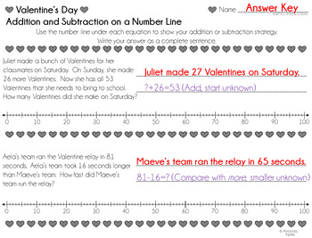 Valentine's Day Adding and Subtracting 2-Digit Numbers on a Number Line